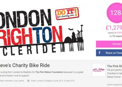 Steve Smith London to Brighton charity cycle ride (Sept 2018)