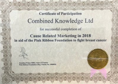 Recognition of funds raised by Combined Knowledge in 2018 for the Pink Ribbon Foundation